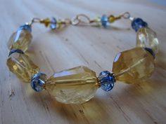 Little Princess Citrine Quartz Gold Bracelet by GemGlassCraft