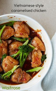 Enjoy a tasty dinner of Vietnamese-style caramelised chicken. Serve with jasmine rice and toasted sesame seeds to finish. Cook's tip: this recipe can also be made with prawns or chunks of salmon; just fry them for slightly less time than the chicken. See the full recipe on the Waitrose website.