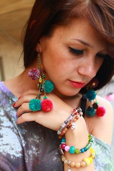 Colorful Pom Pom Stone Earings