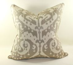 Two 20x20 inch Mushroom Ikat Pillow Covers, Cushion Covers, Decorative Pillow Covers
