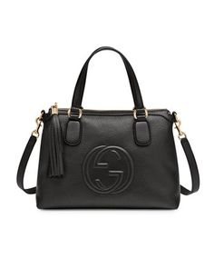 Evaluate.Shop.Style. www.ChristinaStyles.com Soho Leather Top Handle Bag, Black by Gucci at Bergdorf Goodman.