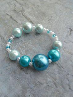Homemade simple blue pearl bracelet by JHFWBeadsAndFindings at #Etsy
