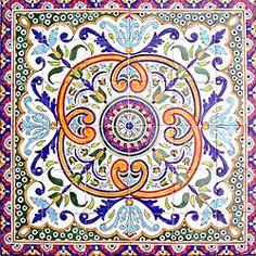 Breton Design 36-tile Ceramic Mosaic Medallion   Overstock.com Shopping - Big Discounts on Arts Exotiques Decorative Tiles