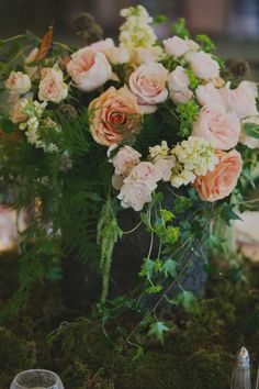 Rustic Moss Wedding Flowers   photography by http://acarrollphotography.com/