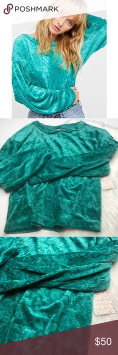NWT Free People Teal Velvet Milan Top So cute and perfectly on trend! Crushed velvet in a bright aqua teal color. Size XS. No trades! Free People Tops Tunics