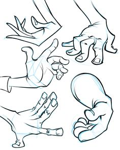 A collection of cartoon hands from my cartoon hand demo. Learn how to draw hands like this at proko.com/217
