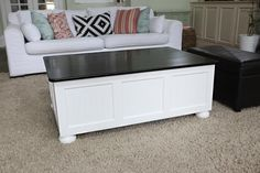 coffee table makeover...espresso top finish with a white base.