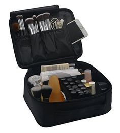 Lmeison Premium Waterproof Portable Velcro Travel makeup bag  Makeup Brush Sets  Cosmetic Artist Organizer Kit for Women Makeup or Men Shaving Kit for vacationBlack * Find out more about the great product at the image link.