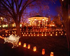 Albuquerque, New Mexico. Laveda and I and a bunch of others always lit the luminaras (bags with candles) every Christmas Eve:) in Old Town, Albuquerque