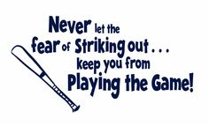 Baseball Wall Decals | Baseball Wall Decal Never Let The Fear Of Striking Out Vinyl Wall ...