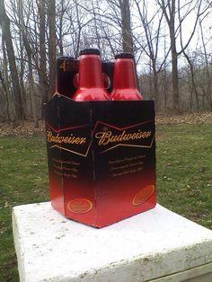 Budweiser Beer Bowtie Graphics Aluminum Bottles Caps W/ 4 Pack Carton Set