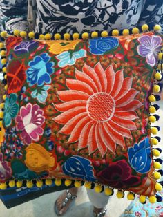 My favourite hand made embroidered cushion from Mexico, comes at a hefty price, but worth every cent.