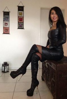 Seated Asian girl in leather dress and OTK boots High Leather Boots, High Heel Boots, Leather And Lace, Heeled Boots, Knee Boots, Fashion Moda, Womens Fashion, Leder Boots, Hot High Heels