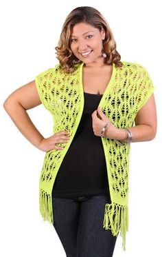 plus size crochet cozy with fringe