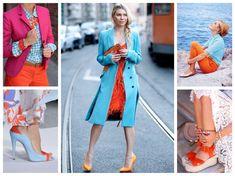 сочетание голубой и оранжевый