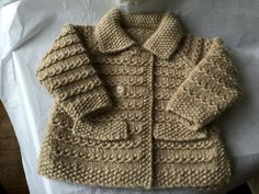 RESERVED Girl's Beige Wool and Linen mix Car by LuxuryHandKnits