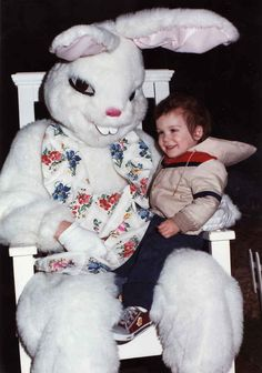 "That sinister look totally says, ""Nope, you're not getting this kid back!"" lol #creepybunny"