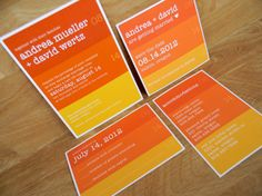 Date Bar Color Gradient Wedding Invitations by papermadeinvites, $1.50
