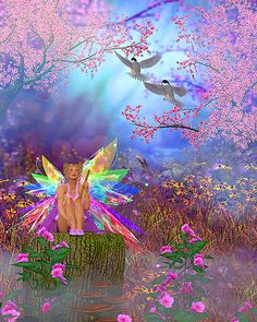 """Fairies - Spring Glow - 38"""" x 44"""" PANEL - DIGITAL DESIGNER PRINT - Quilt Fabrics from www.eQuilter.com Angel Aesthetic, Aesthetic Images, Psychedelic Art, Photo Swag, Emo Princess, Cybergoth, Photo Wall Collage, Fairy Art, Faeries"""