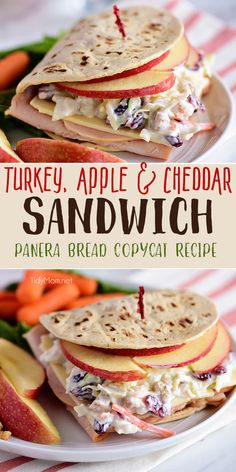This Roasted Turkey, Apple & Cheddar Sandwich is packed with flavor and makes a quick and delicious meal! A favorite Panera restaurant sandwich gets a little healthier when you make it at home! Turkey, white cheddar, crisp apple slices, and a crunchy tangy cranberry walnut slaw are slipped into a flatbread sandwich. Print the full recipe at TidyMom.net