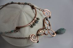 Layering necklace, two piece necklace, copper and  green turquoise wire wrap necklace