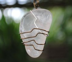 Rose quartz necklace wire wrapped stone pink by Rocks2Gems2Wire