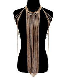 Sexy Glam Gold Tassel Chain Link Body Chain Jewelry Statement Fashion Necklace