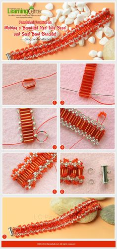 Pandahall Tutorial on Making a Beautiful Red Tube Bead and Seed Bead Bracelet from LC.Pandahall.com