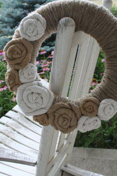 Winter Jute Yarn Wreath/Burlap Flowers/Roses. $35.00, via Etsy.