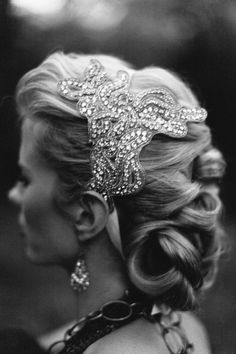 Vintage headpiece. Vintage Green via Etsy.  Haley Sheffield + Southern Vintage   Read more - http://www.stylemepretty.com/georgia-weddings/2013/10/16/1920s-winter-glam-inspiration-shoot-from-haley-sheffield/