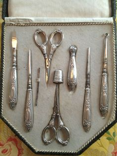 Antique Ornate Silver Sewing Kit Set in Original Box Thimble Scissors