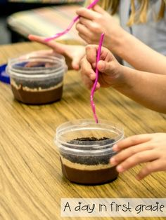 Students become paleontologists through this edible science activity! (Hide plastic dinosaur fossils in 'dirt cups' and then have them discover what dinosaur they dug up!)