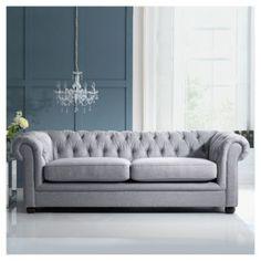Buy Chesterfield Linen Medium Sofa, Silver from our Fabric Sofas range - Tesco.com. Sillón vintage gris, decoración ecléctica #ChesterfieldSofa #SofaVintage
