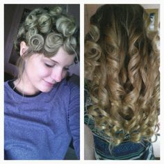 Yes.. IT WORKS! Whenever I curl my hair, it never wants to stay. It all falls out by the time I even leave my house. So.. I tried a new idea. For every piece of hair I curled, I pin it with a bobby pin. Once I am done curling my whole hair (left photo) I spray hairspray all over, let sit for 10 min, (I usually do my make up while I'm waiting) then took out the bobby pins, and my curls came out perfect, AND last all day!