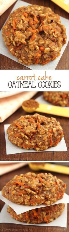 Rob LOVES oatmeal cookies AND carrot cake! Can't wait to bake these for him! Clean-Eating Carrot Cake Oatmeal Cookies -- these skinny cookies don't taste healthy at all! You'll never need another oatmeal cookie recipe again! Healthy Sweets, Healthy Baking, Healthy Snacks, Healthy Recipes, Eating Healthy, Healthy Cookies, Carrot Recipes, Epicure Recipes, Vegetarian Snacks