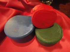 LV Ecrin Bijoux jewelry boxes in toledo blue, borneo green and castillan red :-)