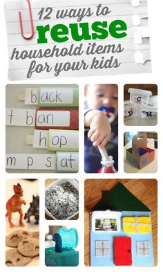 Great ways to #repurpose household items for learning activities!