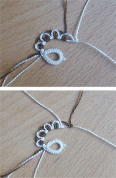 Diy Crafts - In the previous post we have seen how to work a chain of knots with picots on both sides, now we see how to make the motif shown in this Tatting Armband, Tatting Bracelet, Tatting Earrings, Tatting Jewelry, Lace Jewelry, Tatting Lace, Needle Tatting Tutorial, Needle Tatting Patterns, Crochet Patterns