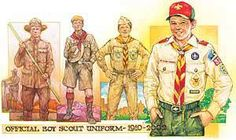 Over nine decades, the basic Boy Scout uniform has changed with (and reflected) the times. Boy Scout Uniform, Scout Leader, Vintage Pictures, Girl Scouts, Bing Images, Clip Art, Magazine, Baseball Cards, Scouting