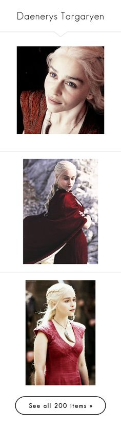 """""""Daenerys Targaryen"""" by fandoms-have-eaten-my-soul ❤ liked on Polyvore featuring emilia clarke, game of thrones, costumes, got, cosplay costumes, role play costumes, cosplay halloween costumes, red halloween costumes, red costumes and daenerys"""