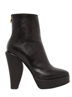 MARNI - 130MM SCULPTED HEEL LEATHER ANKLE BOOTS - LUISAVIAROMA - LUXURY SHOPPING WORLDWIDE SHIPPING - FLORENCE