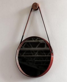Leather and wood mirror