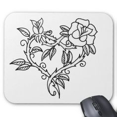 Rose Free Tattoo Stencil - Free Tattoo Rose Designs For Women - Customized Rose Tattoos - Free Rose Tattoos - Free Rose Printable Tattoo Stencils - Free Rose Printable Tattoo Designs Stencils Tatuagem, Tattoo Stencils, Free Tattoo Designs, Heart Tattoo Designs, Heart Designs, Flower Designs, Rose Vine Tattoos, Simple Rose Tattoo, Rose Heart Tattoo