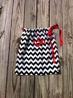 Custom boutique. black white chevron zig zag pillowcase dress. Applique monogram initials. Red or any color details. By EverythingSorella. $36.50, via Etsy.