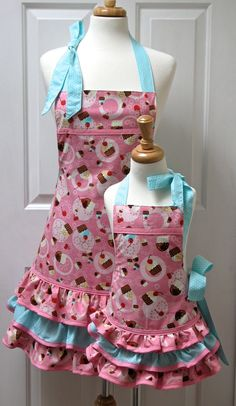 Reversible Mommy and Me Apron Set Cupcakes on Pink and Mint Polka Dots