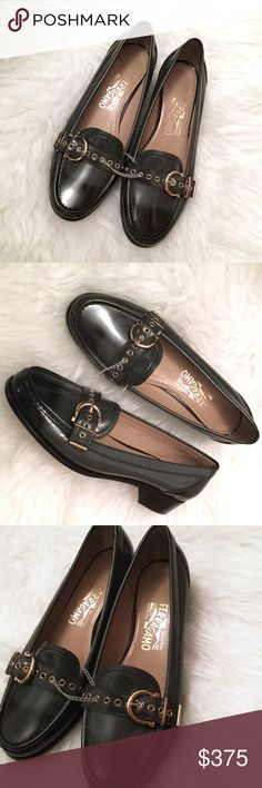 🆕 Salvatore Ferragamo Two Tone Loafers S  8. BNWOB! Make this borrowed-from-the-boys staple all your own: Salvatore Ferragamo goes for gamine-chic in these patent leather loafers.  - Almond toe; slip on - Tonal gold hardware - Patent leather upper, leather lining, leather sole - Made in Italy Salvatore Ferragamo Shoes