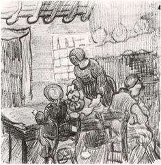 Vincent van Gogh Niño y mujer sirviendo café Drawing