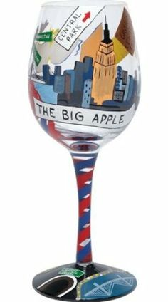 """retired lolita wine glasses images   Big Apple with the Retired Lolita """"New York"""" Hand Painted Wine Glass ..."""