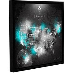 ArtWall Mikael B Dark Storm: Ice Gallery-wrapped Floater-framed Canvas, Size: 14 x 14, Blue