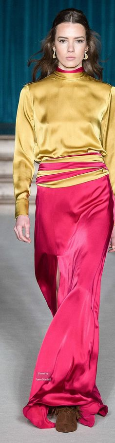 Matthew Williamson Ready-to-Wear Fall-winter Fall Winter 2015, Fall 2016, Latex Underwear, Magenta, Coral, Bias Cut Dress, Pink And Green, Yellow, Long Gowns